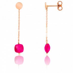 Pendientes cadena Agata rosa chapado Oro rosa