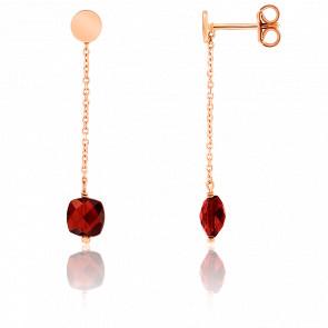 Pendientes cadena Granate chapado Oro rosa