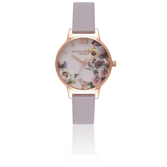 Reloj Embroidery Pansy Rose Gold Lilac OB16FS83