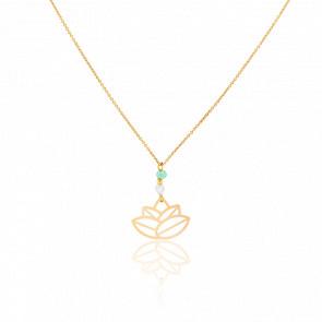 Collar Small Zen Perlas & chapado Oro