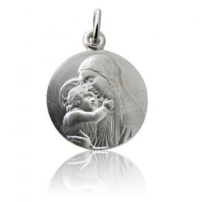 Medalla Virgen con el Niño Botticelli Plata