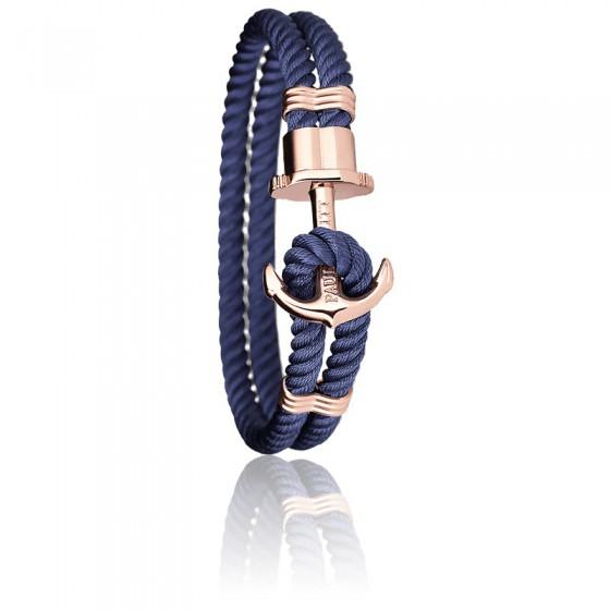 fb10dee0c295 Pulsera Ancla PHREP Acero PVD Oro Rosa Nylon Navy Blue. Paul Hewitt ...