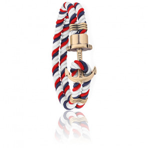Pulsera Ancla PHREP Latón Nylon Navy Blue Red White