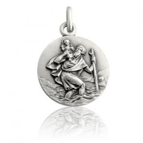 Medalla San Cristóbal caminando Plata