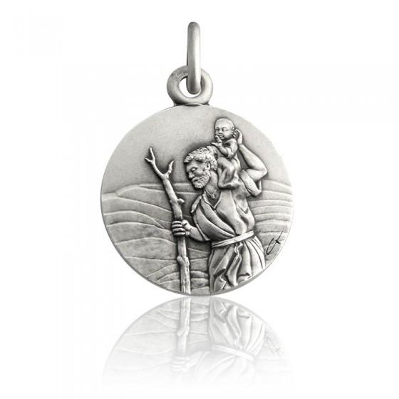 5217c3f36da Colgante de plata de San Cristóbal con el Niño Jesús - Ocarat