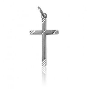 Colgante Cruz estriada Plata