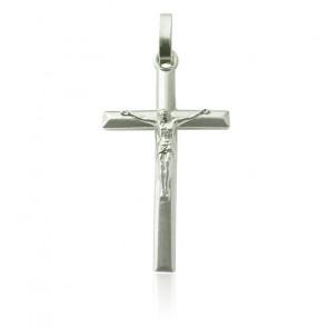 Colgante Cruz Cristo Biselada Plata