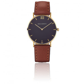 Reloj Sailor Line Gold Blue Lagoon Cuero Marrón