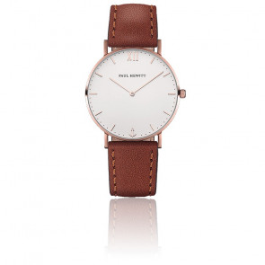 Reloj Sailor Line Rose Gold White Sand Cuero Marrón