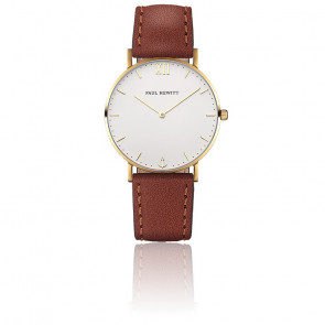 Reloj Sailor Line Gold White Sand Cuero Marrón