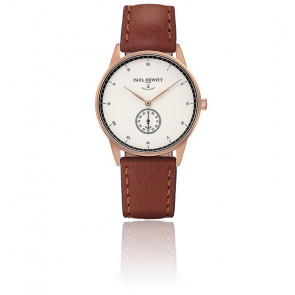 Reloj Signature Line Rose Gold White Ocean Cuero Marrón