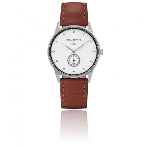 Reloj Signature Line Silver White Ocean Cuero Marrón