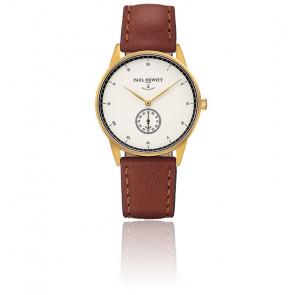 Reloj Signature Line Gold White Ocean Cuero Marrón