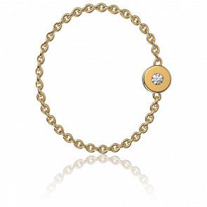 Anillo cadena oro amarillo y diamante