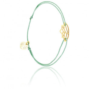 Pulsera Zen Cordón Verde & chapado Oro