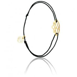 Pulsera Zen Cordón negro & chapado Oro