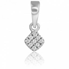 Colgante Corazón Diamantes Oro Blanco 9 Quilates