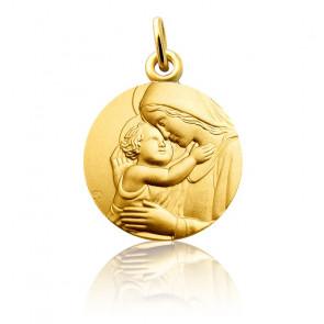 Medalla Virgen con el Niño Oro Amarillo 18K