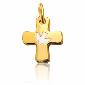 Colgante Cruz Paloma Oro Amarillo 18K