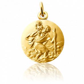 Medalla San Cristóbal caminando Oro Amarillo 18K