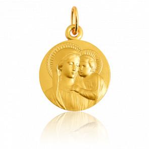 Medalla de la Virgen con el Niño Busto Oro Amarillo 18K