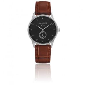 Reloj Signature Line Silver Black Sea Cuero Gofrado Cocodrilo Marrón