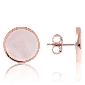 Pendientes de botón de nácar rosa Alba