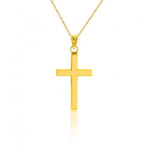 Collar Cruz Oro Amarillo 9K