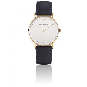 Reloj Sailor Line Gold White Sand Cuero Azul Marino