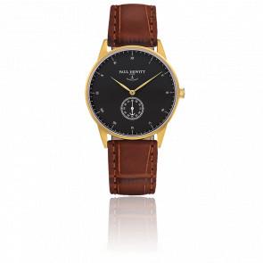 Reloj Signature Line Gold Black Sea Cuero Gofrado Cocodrilo Marrón