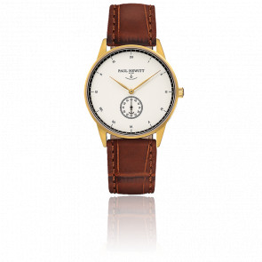 Reloj Signature Line Gold White Ocean Cuero Gofrado Cocodrilo Marrón