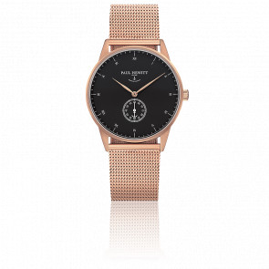 Reloj Signature Line Gold Rose Black Sea Malla Milanesa Rose Gold