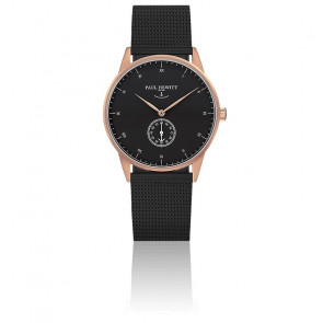 Reloj Signature Line Gold Rose Black Sea Malla Milanesa Negra