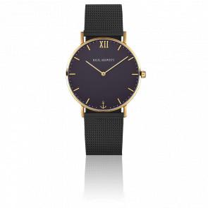 Reloj Sailor Line Gold Blue Lagoon Malla Milanesa Negra