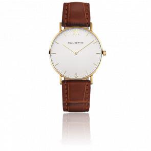 Reloj Sailor Line Gold White Sand Cuero Marrón Cocodrilo