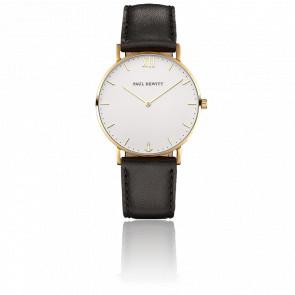 Reloj Sailor Line Gold White Sand Cuero Negro