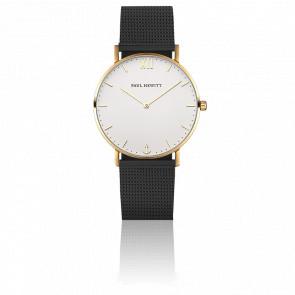 Reloj Sailor Line Gold White Sand Malla Milanesa Negra