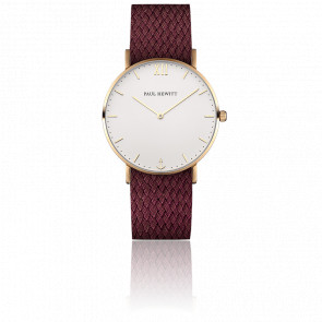 Reloj Sailor Line Gold White Sand Perlón Granate
