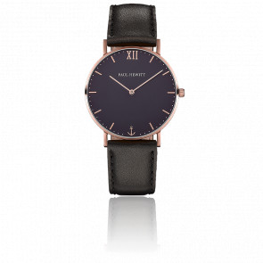 Reloj Sailor Line Rose Gold Blue Lagoon Cuero Negro