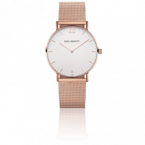 Reloj Sailor Line Rose Gold White Sand Malla Milanesa Rose Gold