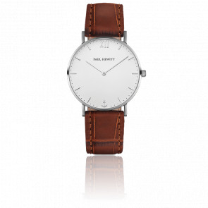 Reloj Sailor Line Silver White Sand Cuero Marrón Estampado Cocodrilo