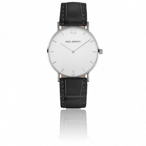 Reloj Sailor Line Silver White Sand Cuero Negro Cocodrilo