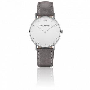 Reloj Sailor Line Silver White Sand Cuero Gris