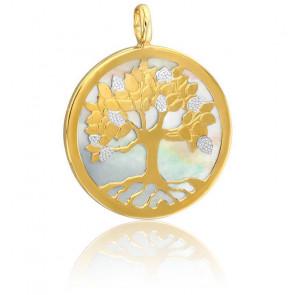 Colgante Árbol de la Vida - Nácar blanco y 2 oros 9k