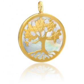Colgante Árbol de la Vida - Nácar blanco y 2 oros 18k
