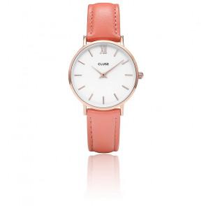 Reloj Minuit Rose Gold White / Flamingo CL30045