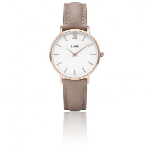 Reloj Minuit Rose Gold White / Hazelnut CL30043
