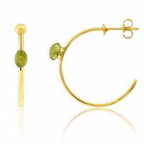 Pendientes Aros Oro amarillo 18k y Peridoto