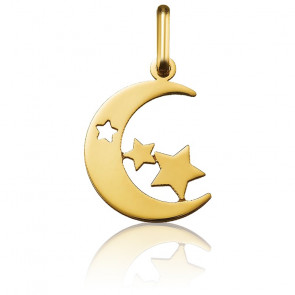Colgante Luna & Estrellas Oro Amarillo 18K