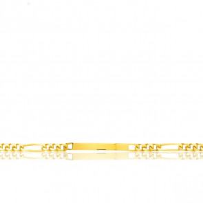 Pulsera Personalizable 17 cm de Oro Amarillo con Cadena Figaro 1x3